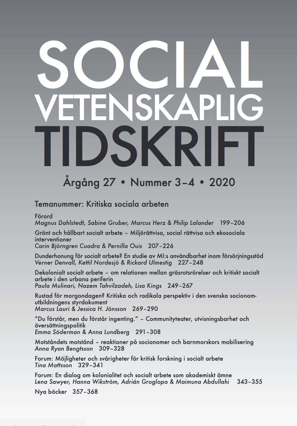 Visa Vol 27 Nr 3-4 (2020):  Temanummer: Kritiska sociala arbeten